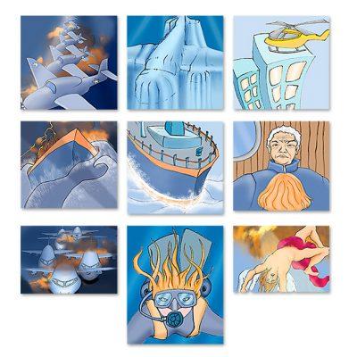 """Illustrations nouvelle de Maxime Chattam """"Le sommeil des Icares"""" - Snecma/salon du Bourget 2003"""